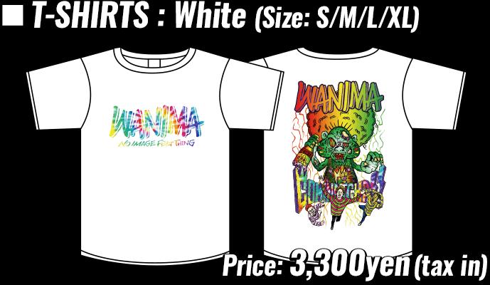 T-SHIRTS : White (Size: S/M/L/XL) , Price: 3,300yen(tax in)
